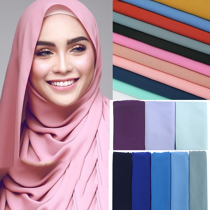 1 Pc Popular Malaysia Style Women Plain Bubble Chiffon Scarf Hijab Wrap Solid Color Shawls Headband Muslim Hijabs Scarves/scarf