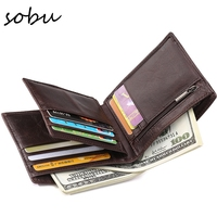 100 Top Quality Cow Genuine Leather Men Wallets Fashion Splice Purse Dollar Price Carteira Masculina Original