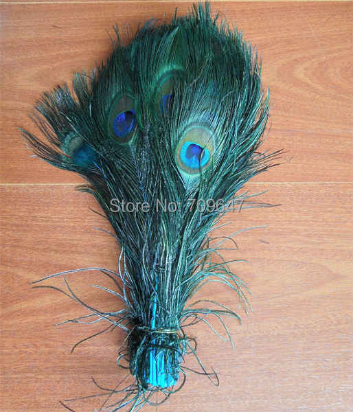 100Pcs Lot Beautiful Peacock Eye Feathers dyed Sky Blue color 10 12inches 25 30cm long Turquoise Peacock Feathers in Feather from Home Garden