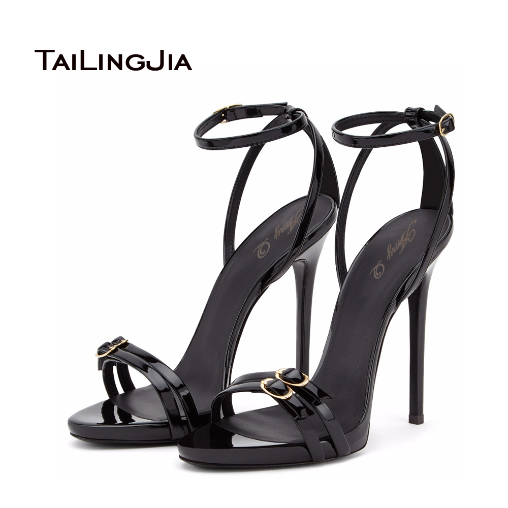 Women Brands Shoes Evening High Heels Black Patent Leather Sandals Open Toe Thin Heel Sexy Party Shoes New Arrival 2016 Handmade