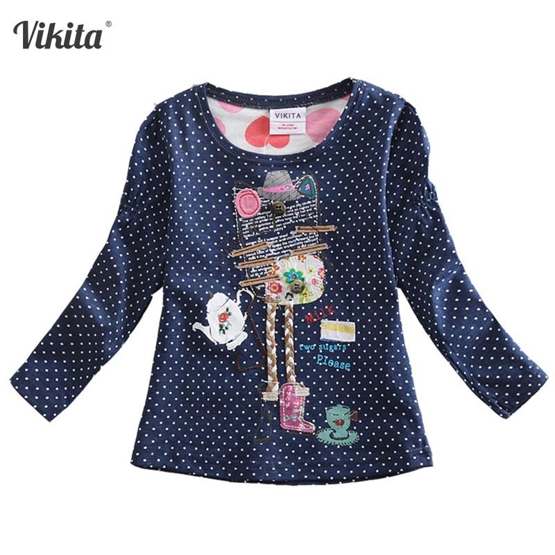 VIKITA T-krekli meitenēm Garām piedurknēm Roupa Infantil Princess - Bērnu apģērbi - Foto 2