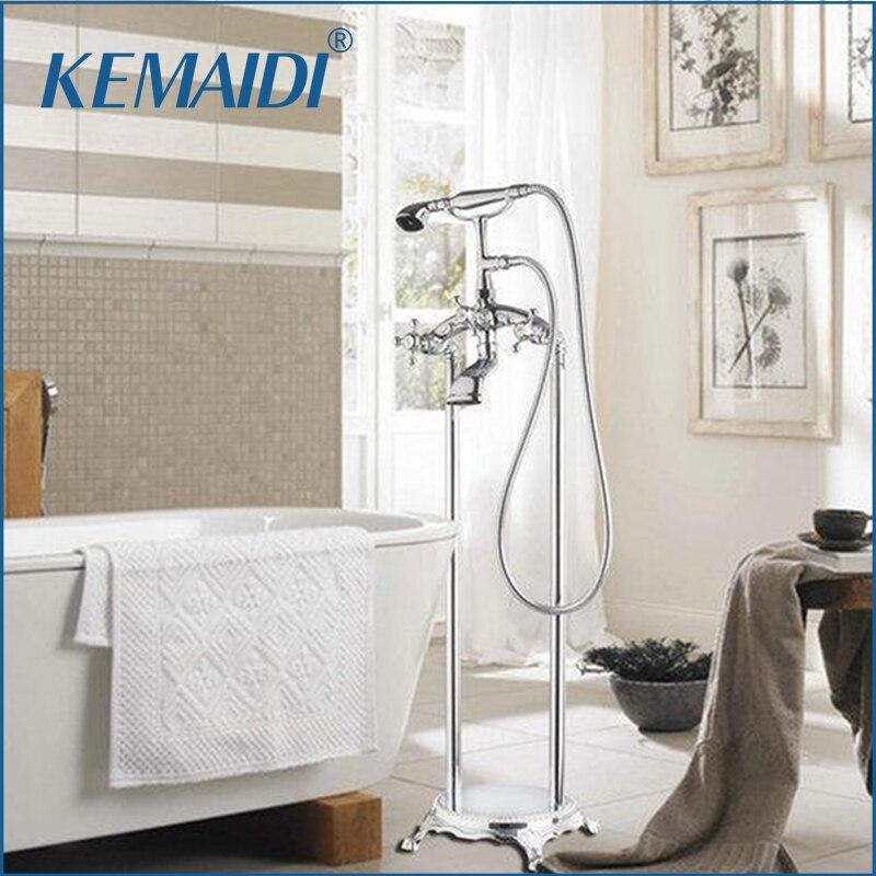 KEMAIDI baignoire Torneira salle de bain Chrome 51005 ensemble de douche au sol Double poignées navire vanité lavabo robinet, mitigeur