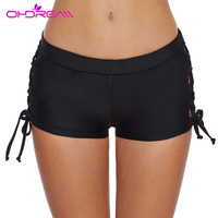 OHDREAM Women Mid Waist Solid Summer Bikini Bottom Shorts Swimsuit Female Swim Boyshorts Cover Up Beachwear Swim Short Swimwear