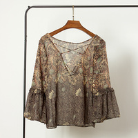 S M L Women S 2017 New Spring Cross Strings Perspective Printing Flare Sleeve Chiffon Shirt