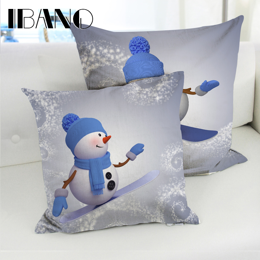New Design Snowman Christmas Pillow Cover 45x45cm Cushion Cover Polyester&Linen Car Pillow Case Decorative For Home 1PCS/Lot ...