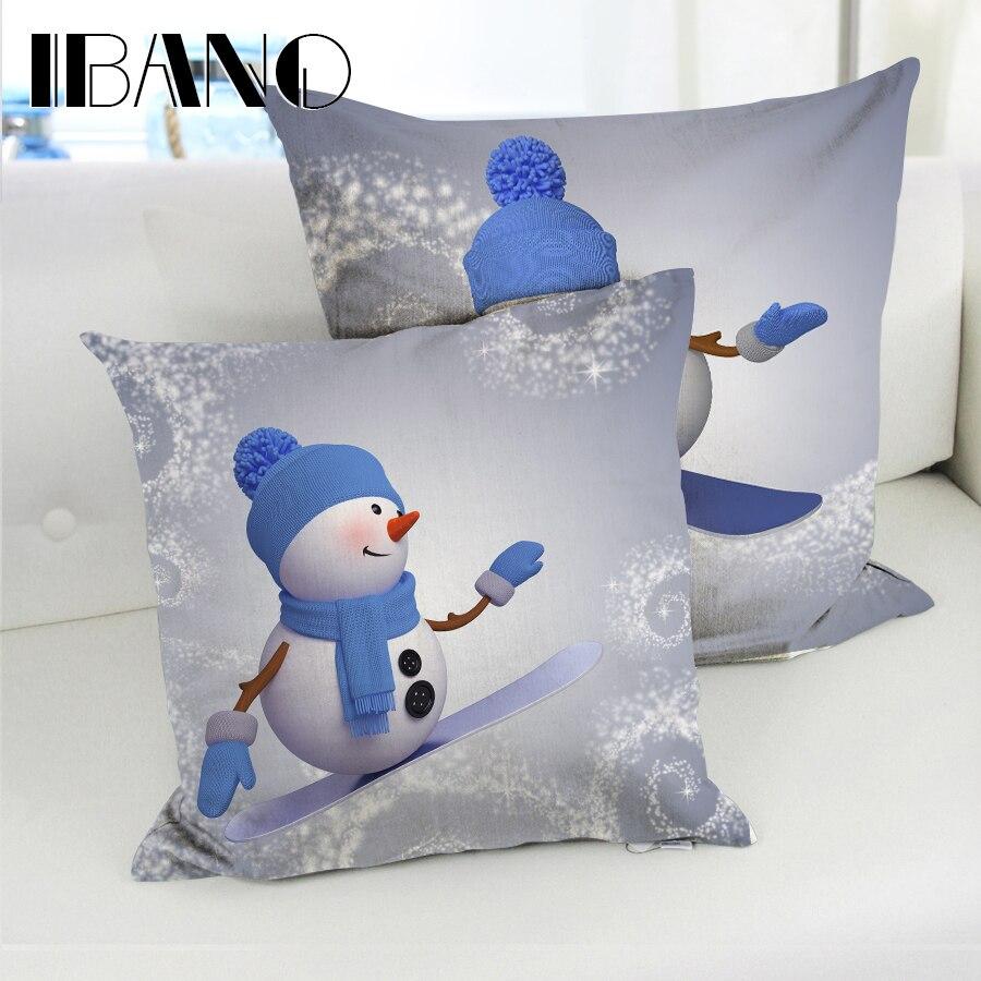 oreiller 45x45 ୧ʕ ʔ୨Nouveau Design Bonhomme De Neige De Noël Taie d'oreiller  oreiller 45x45
