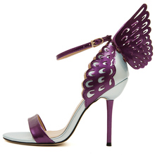 New Women's 3D Butterfly Sandals Cut Outs High Heels Stilettos Angle Wing Pumps Thin Heels Lady Shoes Y108