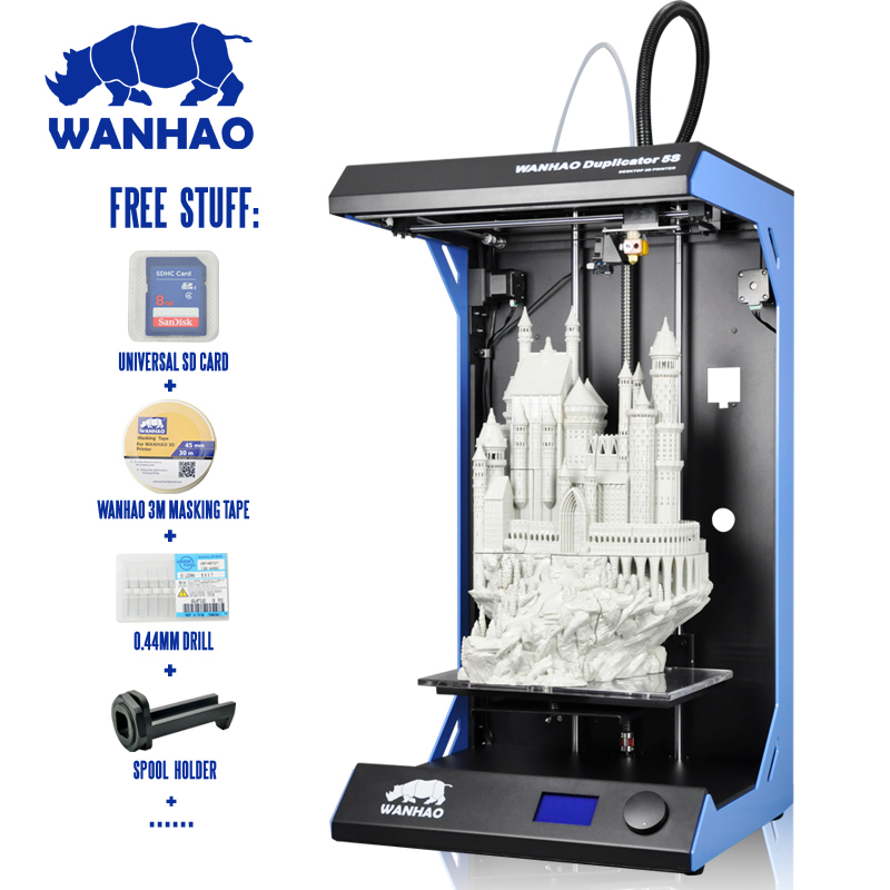 2018 Newsest wanhao D5S Fully Assembled 3D Printer 3D Printing Largest Printing Area 3D Printer Kit with ABS/PLA materials цены