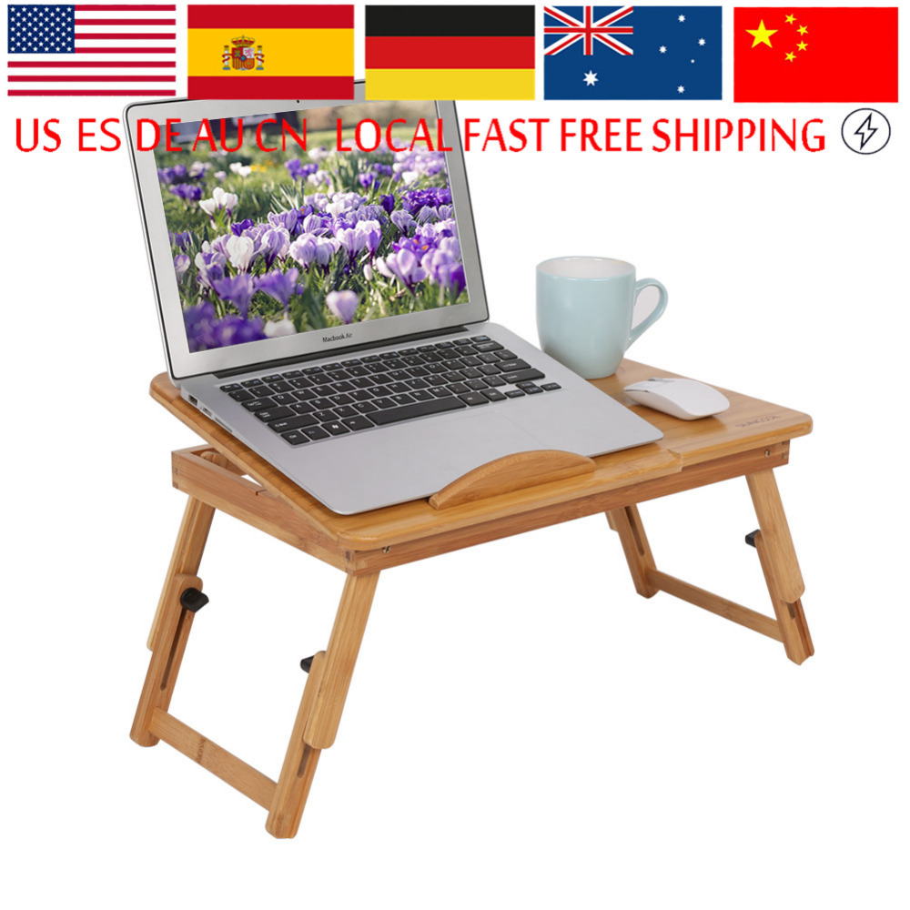 1Pc Adjustable Bamboo Laptop Stand Portable Laptop Table With Anti-slip Baffle And Timely Heat Emission Laptop Bed Lap Desk