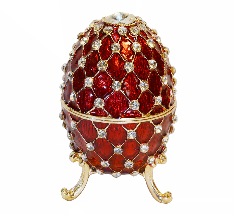 Free shipping big jewelry box red bejeweled faberge color for Big box jewelry stores