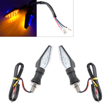 Universal Motorcycle Turn Signal Double Sided LED Yellow and Blue Flashing Indicating  new