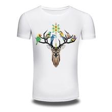 DY 90 Men s 2016 Fashion Deer Birds Design T Shirt High Quality Tops Hipster Men