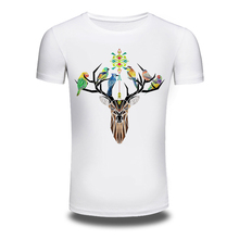DY-90 Men's 2016 Fashion Deer Birds Design T Shirt High Quality Tops Hipster Men Cotton Tees Shirt