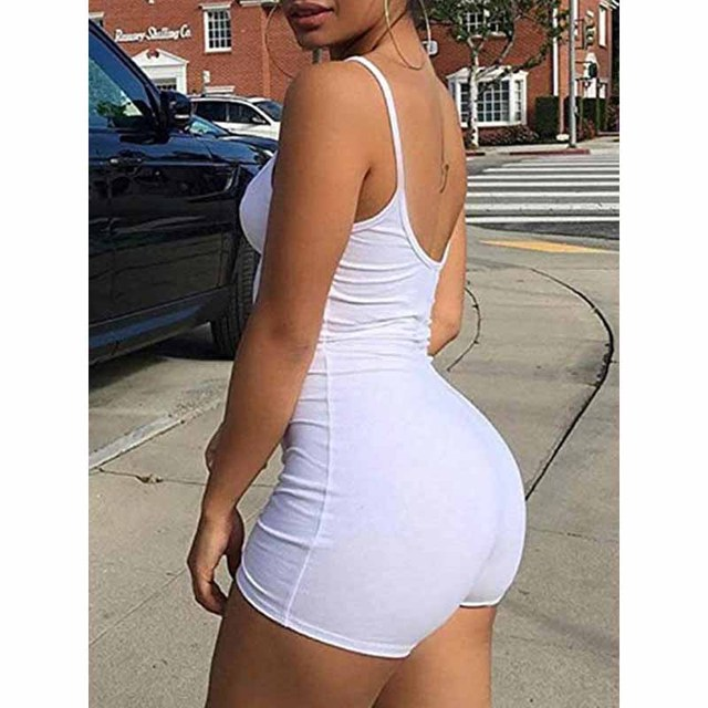 Casual Summer Bodycon Rompers Womens Jumpsuit 2019 Summer Playsuit Sexy Slim Body Skinny Rompers Shorts Spaghetti Strap Leotard 4