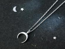 very tinny SMALL 100% REAL. 925 Sterling Silver Fine Jewelry polished Crescent Moon pendant Necklace GTLx1716 fine jewelry real 925 sterling silver s925 100