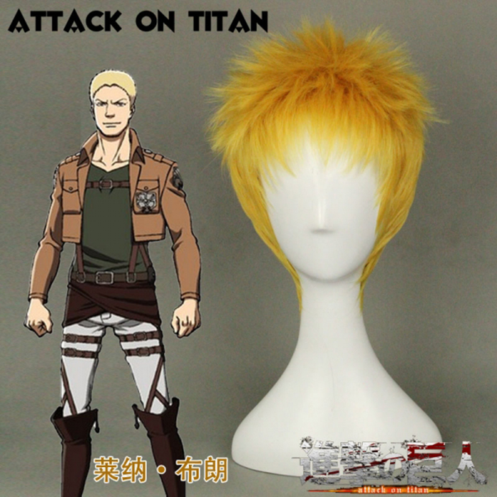 Attack On Titan Reiner Braun Wig Short Blond Hair Cosplay