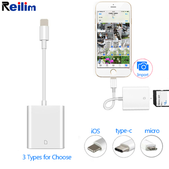 for lightning to sd tf card camera reader adapter compatible camera kit otg data cable needn t app for iphone apple ios 9 2 11 3 Micro SD Card Reader for Lightning to SD Card Camera Reader Adapter for TypeC OTG Card Reader for Macbook Mobile Phone IOS USB-C