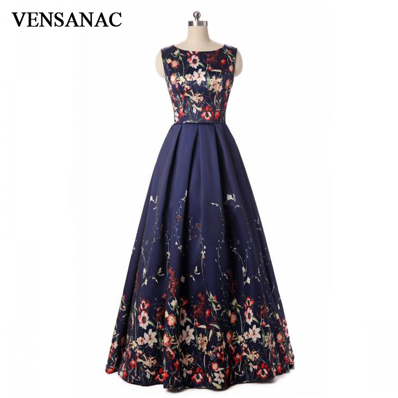 VENSANAC 2018 A Line O Neck Floral Print Long Evening Dresses Elegant Tank Party Lace Pattern Satin Prom Gowns