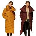 2016 Nuevas mujeres de la Moda Por la Chaqueta Parka Abrigos Europea Diseñador Asimétrico Longitud AF1288 Anorak Abrigo de Invierno