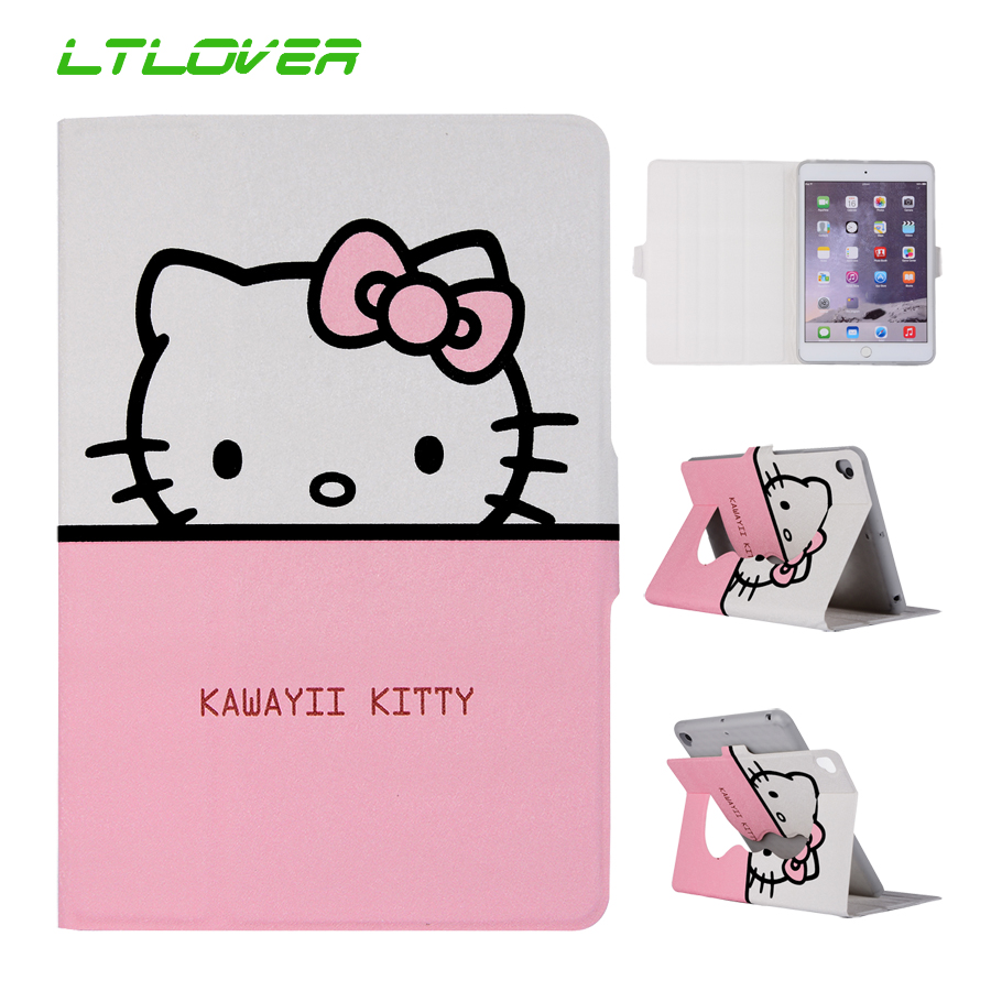 For iPad Mini 4 Cute Mickey Hello Kitty Stand Magnetic Smart Auto Sleep Wake Up Tablet Case For iPad Mini 4 7.9 inch A1538 A1550