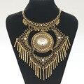2017 moda collar de alimentación choker vintage maxi bohemio étnico collar colgante borla grande de la gema de oro collar de las mujeres joyería fina