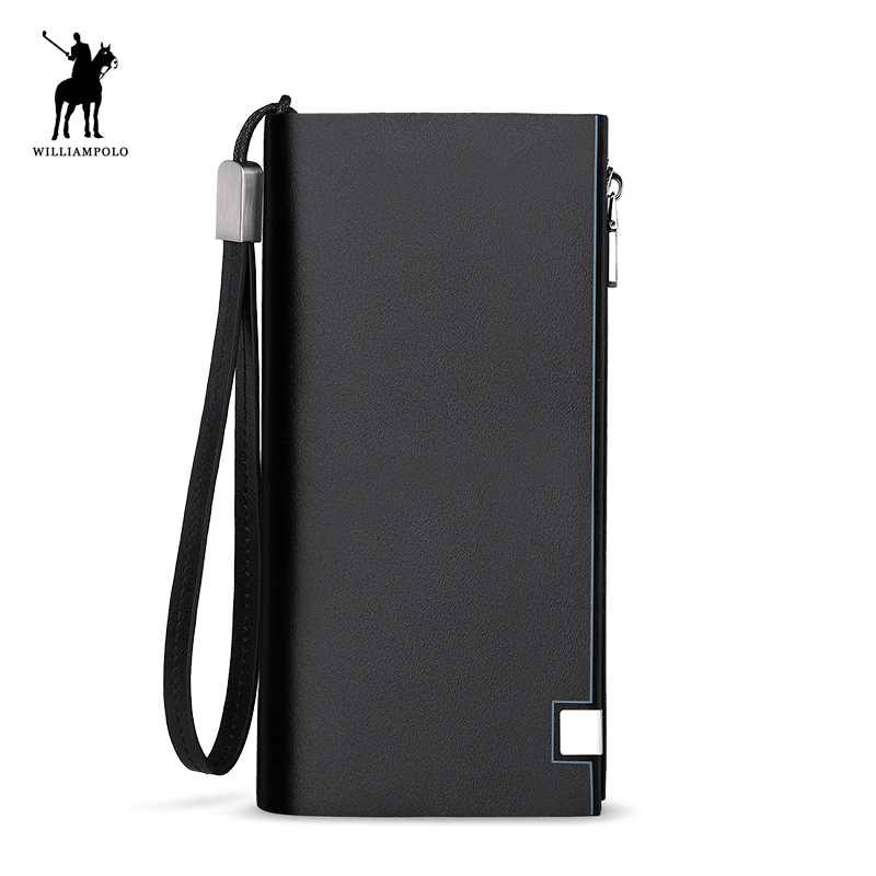 WilliamPOLO 2017 Mens Wallets Leather Coin Wallet Simple Business Long Wallets Men Purse Card Holder Long Design Wallet POLO212 never leather badge holder business card holder neck lanyards for id cards waterproof antimagnetic card sets school supplies