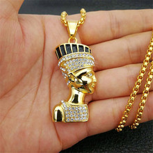 Hip Hop Egyptian Queen Nefertiti Pendant & Necklaces for Women Jewelry Gold Color Stainless Steel Wholesale Jewellery