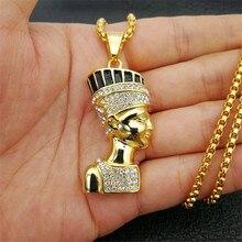 Hip hop rainha egípcia nefertiti pingente & colares para jóias femininas cor do ouro aço inoxidável atacado jóias