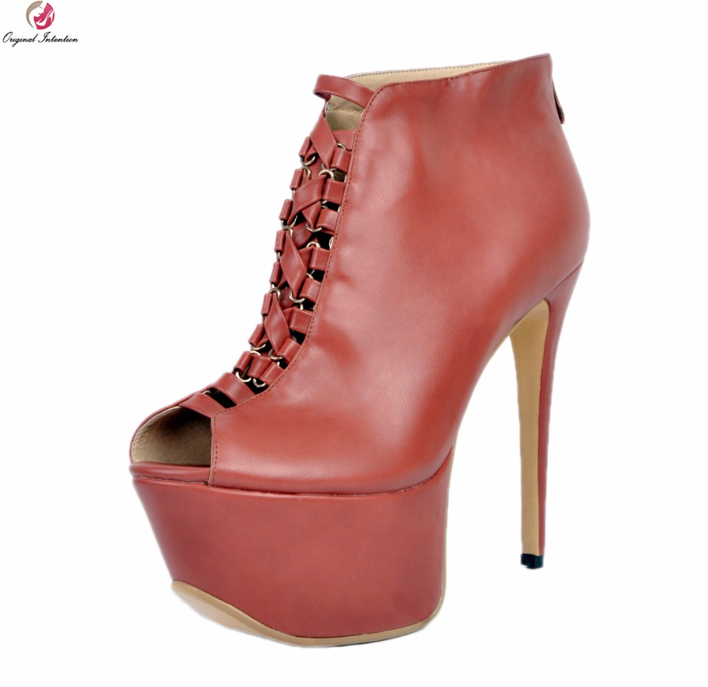Original Intention Gorgeous Women Sandals Platform Open Toe Thin High Heels Sandals Nice Wine Red Shoes Woman Plus US Size 4-15 ultra thin heels 20cm platform open toe print women s shoes plus size sexy 43 tiangao 42 34