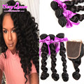 8A Brazilian Loose Wave With Closure 3 Bundles Rosa Unprocessed Virgin Brazilian Hair With Closure Loose Wave Queen King Hair