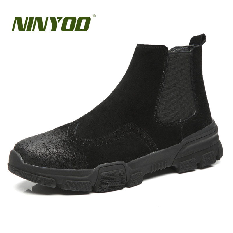 NINYOO New Autumn Fashion Boots Men Ankle Shoes Brogue Genuine Leather Chelsea Outdoor Winter Martin Boots Work Big Size 38-46
