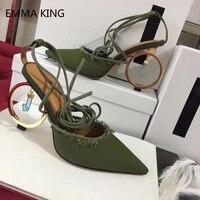 Новые женские туфли лодочки на необычном высоком каблуке для подиума, синие босоножки с ремешками на щиколотке и шнуровкой, пикантные однот