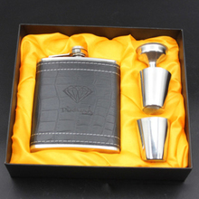 7oz Stainless Steel Leather Wrapping Alcohol Whiskey Hip Flasks With Black Box Packing Portable Hip Flask Men Gift Set