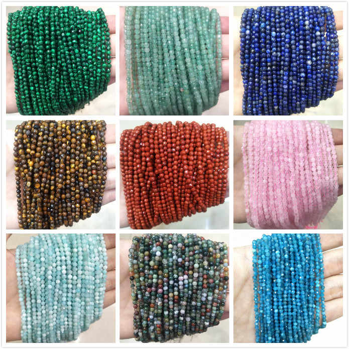 Wholesale Faceted 3 MM Natural Stone Beads Pink Quartz Crystal Lapis lazuli Agates Gem Beads For Jewelry Making DIY Bracelet
