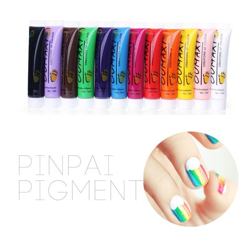 12 Pc Cores Nail Art Pen 3D Pintura Tubo Desenhe Pintura Pigmento ...