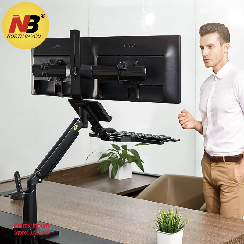 NB FC24-2A Gas Spring 19-24 inch Dual Screen Desktop Monitor Mount Full Motion Sit Stand Workstation with Keyboard Tray USB 3.0 ...