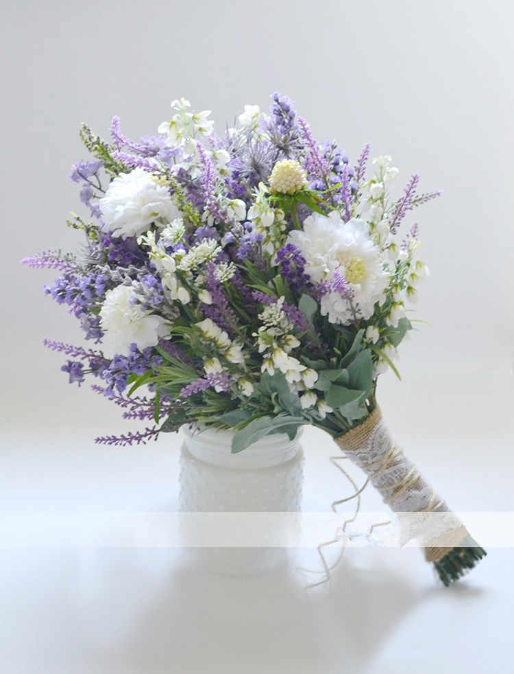JaneVini ラベンダーパープル白花ウェディングブーケ花嫁ヴィンテージ麻ロープの手ブライダルブーケ新郎コサージュブートニエール