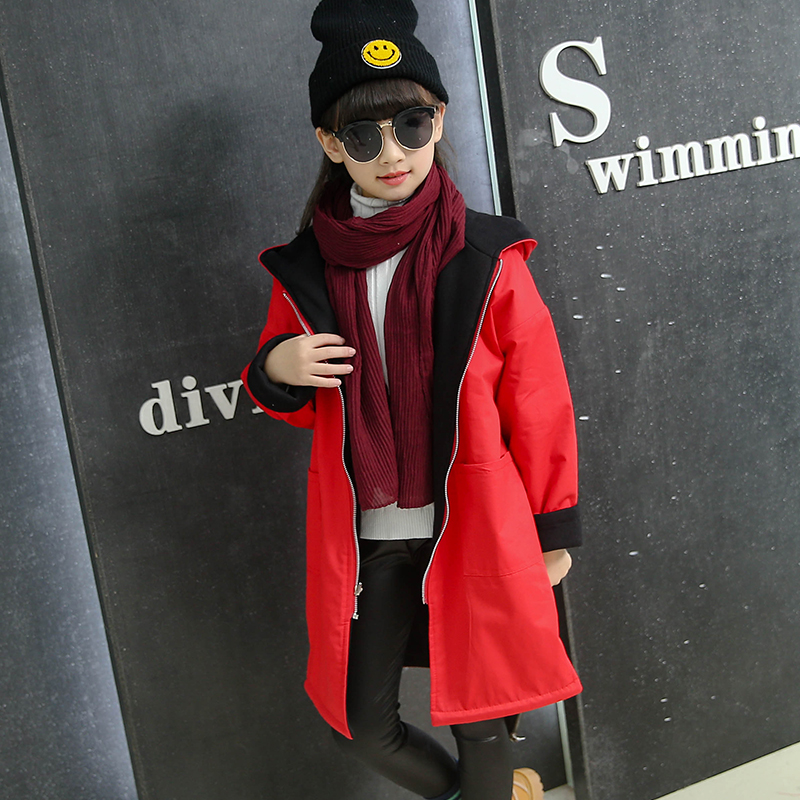Girls Trench Coat Autumn 2016 Children Long Coat Kids Blazer Cotton Outerwear Jackets Teenage Girls Clothing