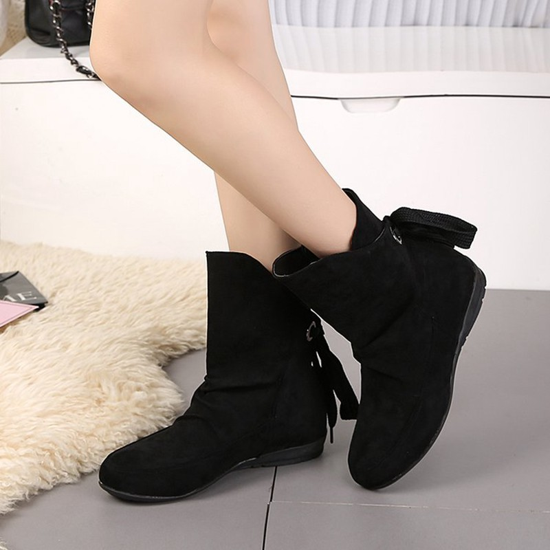COOTELILI Plus Size Ankle Boots For Women Shoes Lace-Up Ladies Shoes Fashion Rubber Boots Women Winter Shoes Red Black 41 42 43  (2)