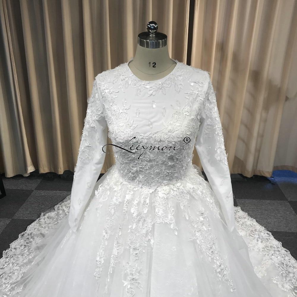 Leeymon μακρύ μανίκι Vintage δαντέλα νυφικό - Γαμήλια φορέματα - Φωτογραφία 5