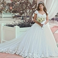 Rose Moda Lace Cap Sleeves Puffy Lace Wedding Ball Gown Sweetheart Neck Plus Size Wedding Dress with Train Custom Made