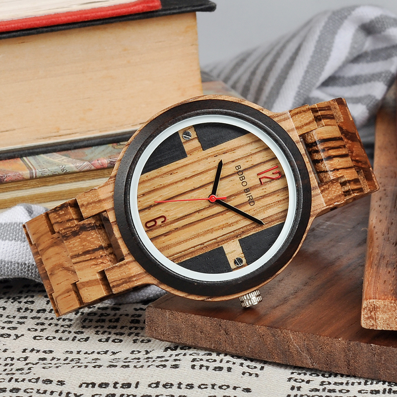 Zebra Ebony Wooden watch, with a Gift box 3