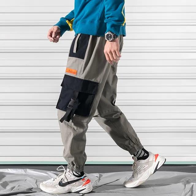 2019 Multi-Pocket Hip Hip Men Cargo Pants Streetwear Harajuku Harem Pants Baggy Elastic Waist Loose Joggers Male Trousers