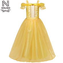 Teenage Girl Dress Girls Party Wear Beauty And The Beast Prom Gown Children Kid Halloween Costume Girl Clothes 6 8 10 Year(China)