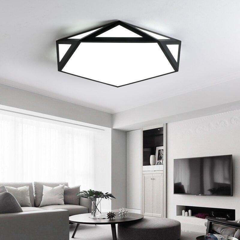 Modern LED Geometry Art Ceiling Lights For Living Room Bedroom Black White Indoor Home Balcony Ceiling Lamp Lighting Fixtures