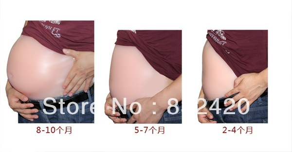 The Realistic Comfortable Silicone Fake Belly for Pregnancy Test have Twins Size 7~8 Month