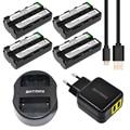 Batmax 4 unids np-f550 np f550 npf550 baterías li-ion + cargador usb dual para sony np-f570 f530 ccd-sc55 ccd-trv81 + ue/ee. uu. ac adaptador