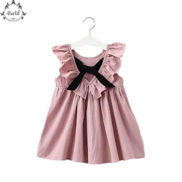 28da983b9b575 Poussiéreux Rose Bébé Fille Robe À Volants Col Enfants Vêtements Dos Nu  Enfants Vêtements Filles Robe