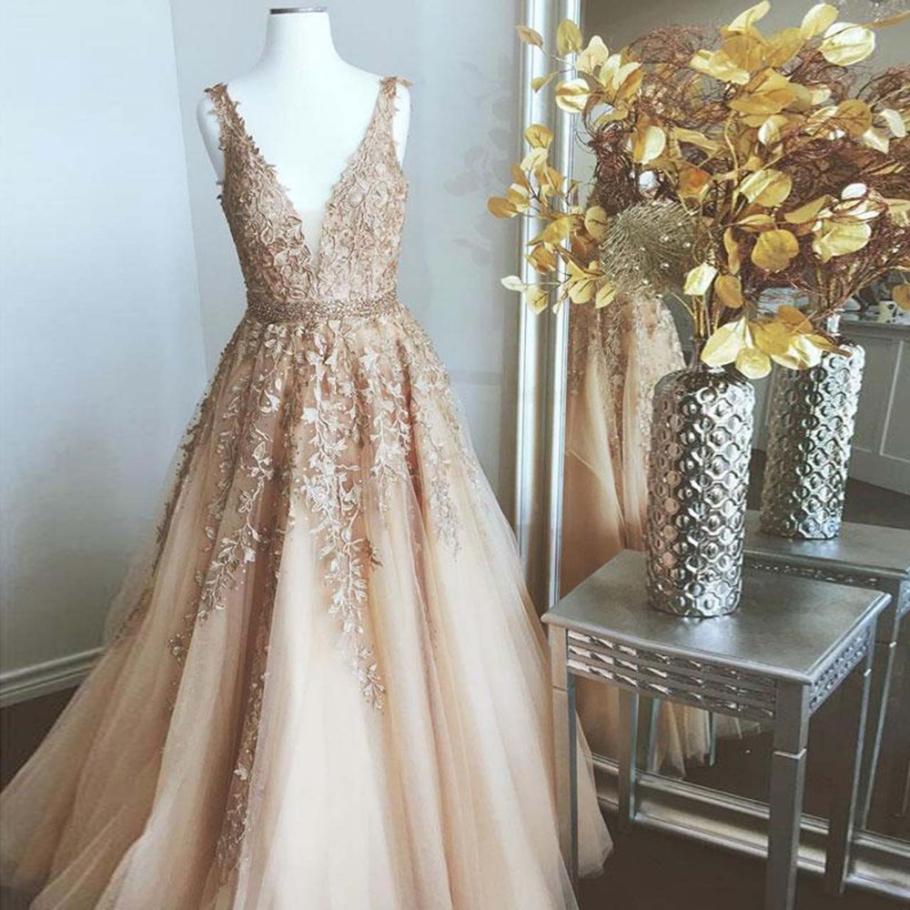 Real Image Gold Lace Evening Gowns With Sparkle Beaded Sash A line Long Prom Gowns 2019