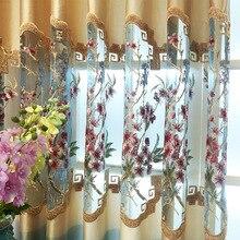 Cortinas para sala de estar, cortinas de janela modernas para quarto, oco, novo estudo chinês elegante